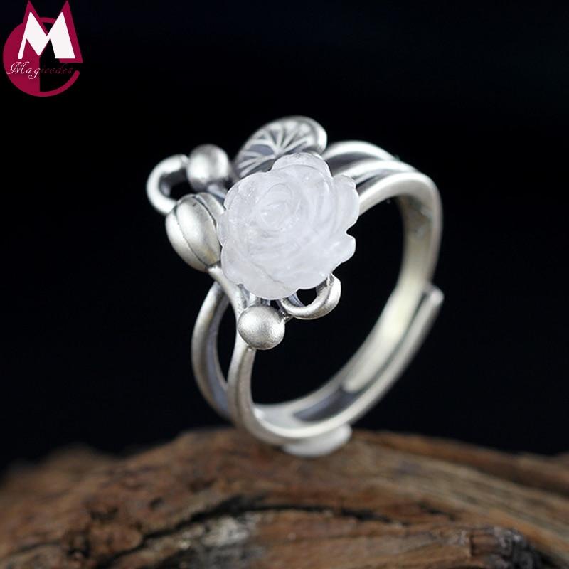Cristal anillos florales para bodas para mujeres joyería regalos planta hecha a mano de Plata de Ley 925 accesorios de anillo de compromiso de la mujer SR55