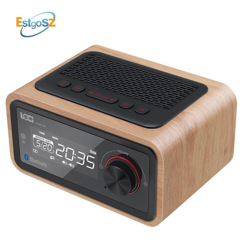 EStgoSZ Ретро деревянный радиоприемник Bluetooth динамик сабвуфер FM поддержка будильника AUX TF карта USB диск с пультом дистанционного управления