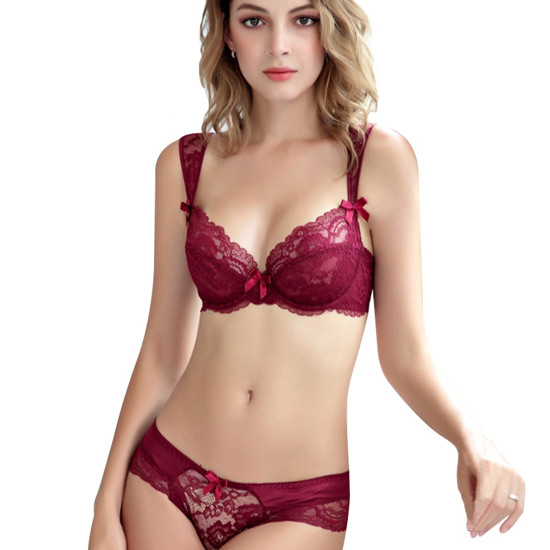 Moda Cordón de encaje ropa interior femenina sexy bra ultra-Delgado estético cómodo ropa interior push-up set