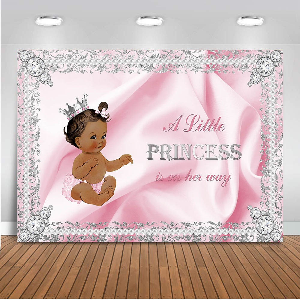 Recién Nacido Baby Shower suministros de decoración para fiesta telón de fondo para fotografía corona Rosa princesa fondo para estudio fotomatón