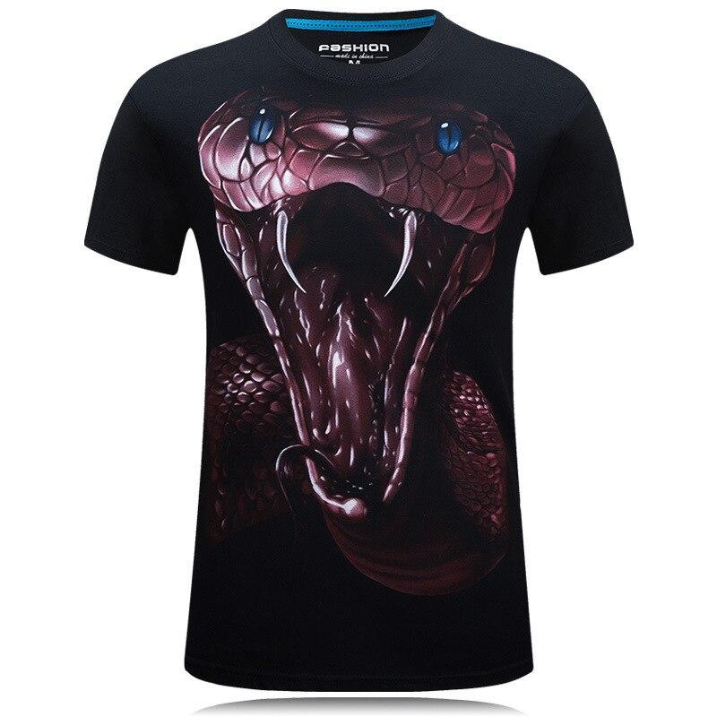 Camisetas estampadas en 3D, camiseta con gráfico de serpiente roja de manga corta para hombre, camiseta informal de moda para hombre, camisetas de animales, camiseta negra y azul para hombre