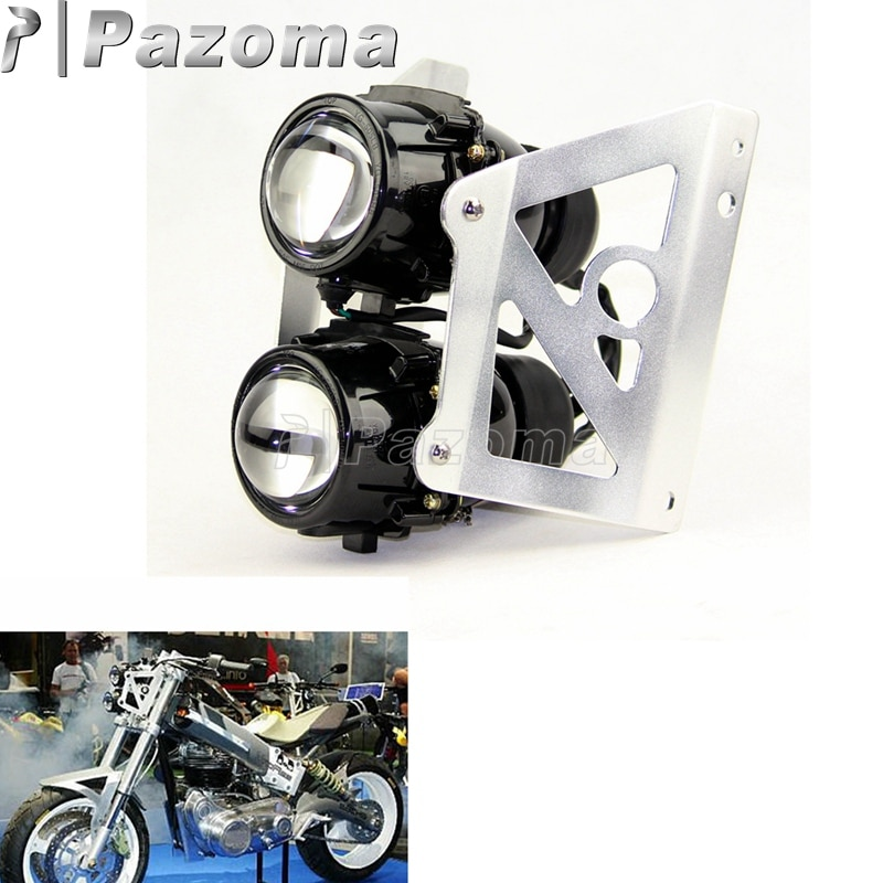 Motorcycle Dirt Bike Front Twins Headlamp Streetfighters Dual Headlight Projector For Suzuki Yamaha Honda Kawasaki KTM Ducati