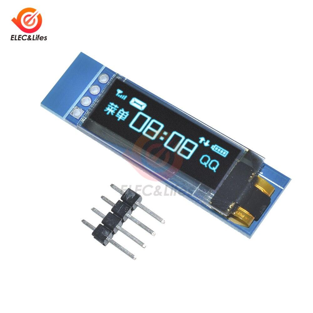 1 Uds 0,91 pulgadas 128x32 pantalla LCD blanca/azul OLED módulo DIY interfaz IIC I2C SSD1306 controlador IC DC 3,3 V 5V para Arduino PIC