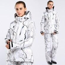 Livraison gratuite nouveau Ski costume imprimé fleurs femmes Snowboard ensemble veste et pantalon extérieur imperméable coupe-vent hiver thermique