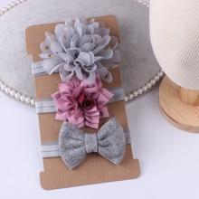 New 3pcs/set Baby Girl Bows Hair Accessories Chiffon Flower Headband Bow knot Party Princess Dress D