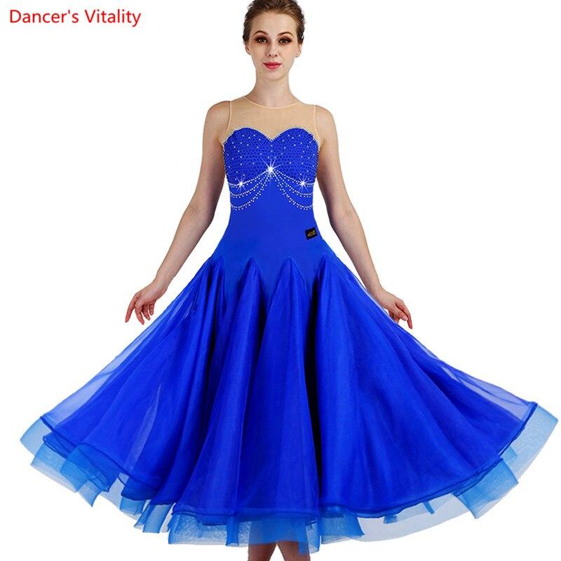 2018 Nieuwe Custom Made Sexy Vrouwen Moderne Kostuums Mesh + Rhinestone Ballroom Dans Jurk Waltz Tango Avondjurken