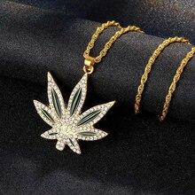 Collier hip hop en acier inoxydable, feuille de chanvre, colliers en cristal, pendentifs pour hommes et femmes, bijoux personnalisés, cadeaux