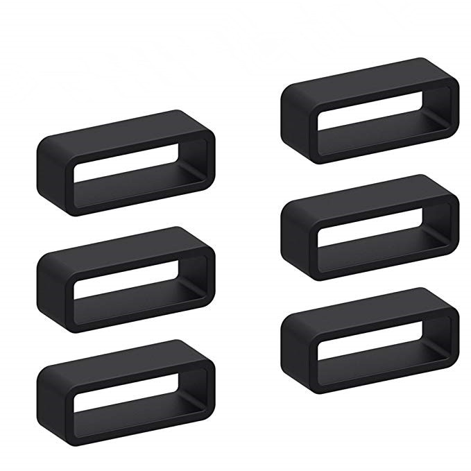 6pcs Black Silicone Watch Strap Loop Replacement Watch Band Retaining Loop Hoop Rubber Retainer Hold