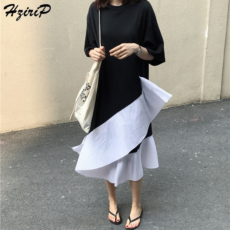 HziriP 2019, Camisa larga de verano para mujer, almazuela elegante de algodón, cuello redondo, volantes en cascada, para mujer, para fiesta, largo de oficina, blusa, bata para mujer