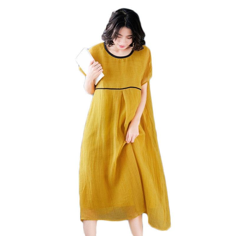 Plus Size Women Summer Dress Yellow Short Sleeve Vestido Linen  O-neck Yellow Dress A Line 2019 Elegant Casual Dresses Girl f066