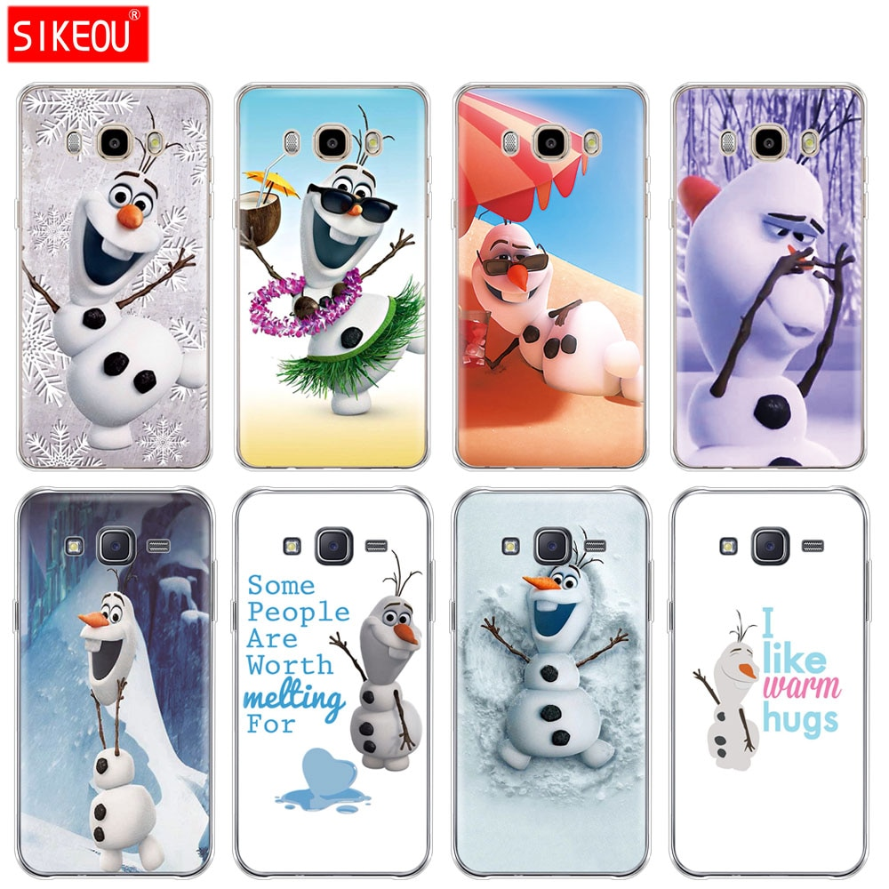 silicone cover phone case for Samsung Galaxy J1 J2 J3 J5 J7 MINI 2016 2015 prime cute  olaf