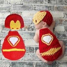 Chapeau en Crochet pour nouveau-né   Accessoires de photographie pour bébé homme, Cape et chapeau en tricot, Costume de dessin animé, H227