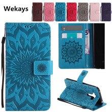 Luxury 3D Sun Flower Magnetic Slot Leather Flip Case For Sony Xperia M2 Aqua S50H D2302 M4 E2333 E2353 M5 Dual E5603 E5606 Cover