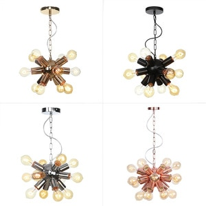 Ac110-220v E27 Led Pendent Lamp Droplight Iron Art Multi Heads Chain Rose Golden Industrial Chandelier Vintage Hanging Lights