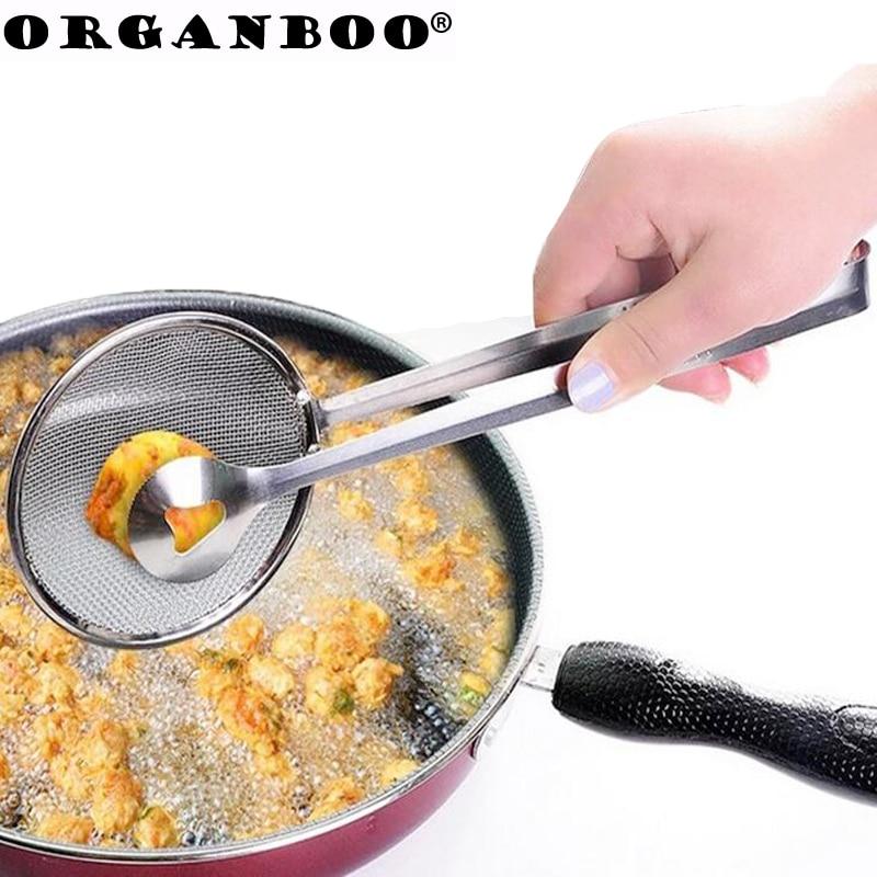 ORGANBOO Multi-funcional Acero inoxidable abrazadera colador cuchara con filtro y pinza comida cocina aceite-freír ensalada filtro BBQ