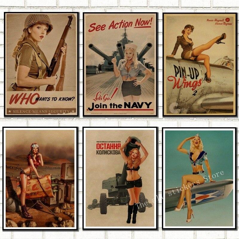 Классический ретро постер из крафт-бумаги для девочек во время Второй мировой войны, сексуальная декоративная картина для девочек, военный бар, кафе, домашняя декорация/809