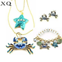 XQ women jewelry Color enamel crab scallop starfish elastic rope wear beads bracelet long double necklace stud earrings for men