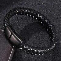 2021 punk handmade bracelet men braided leather bracelet magnetic clasps bangles male jewelry gifts bb0001