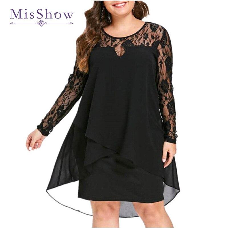 Black Plus Size Evening Dress Short Elegant Lace Chiffon Mother of the Bride Dress Long Sleeve Forma