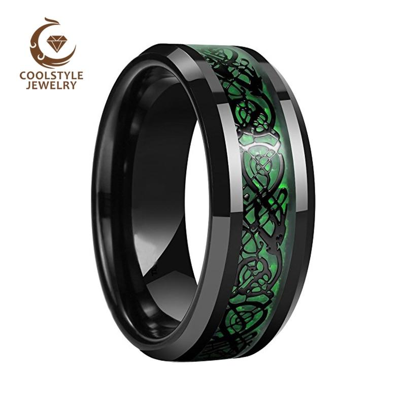 8MM Black Dragon Ring Men Women Tungsten Wedding Band With Green Opal Black Dragon Inlay Comfort Fit