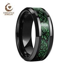 8MM noir Dragon anneau hommes femmes tungstène alliance avec opale verte noir Dragon incrustation confort ajustement