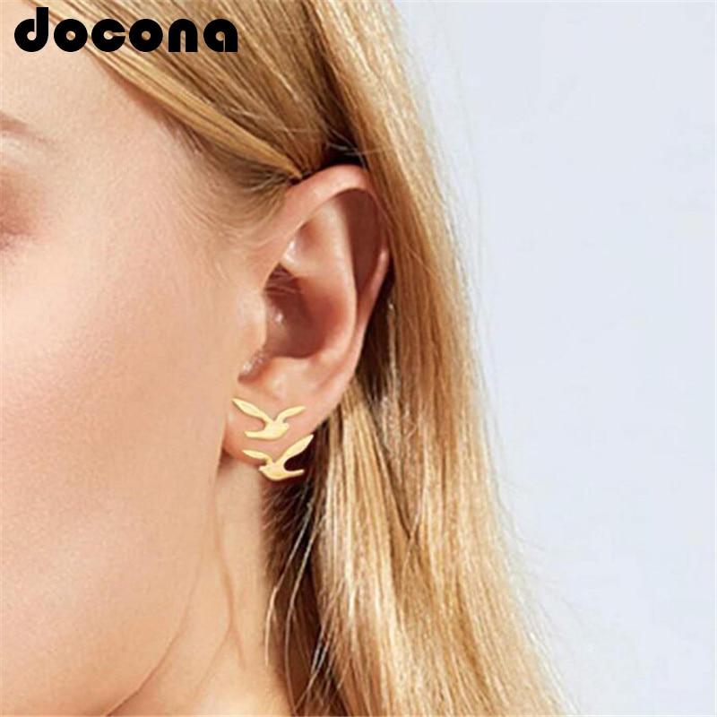 docona Punk Gold Color Bird Stud Earring for Women Girl Metal Geometric Stud Earrings Party Jewelry Brincos 6747