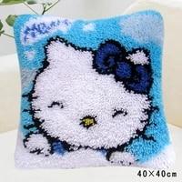 latch hook cushion kit pillow mat diy crafts cat pattern cross stitch needlework set crocheting cushion embroidery pillow