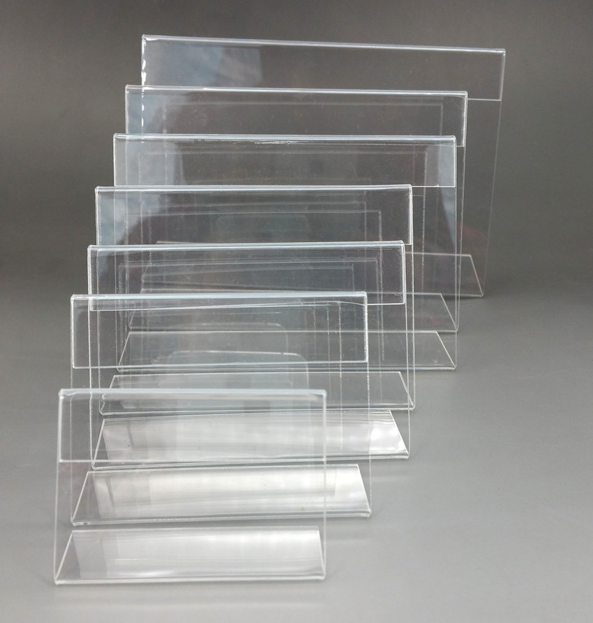 Acrylic Price Label Card Holders L Shape Stands Display Signage Paper Promotion on Table T1.3mm High Quality 50pcs