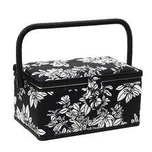 Boîte à coudre multifonction avec Kit de couture artisanat en bois et tissu couvert Kits de bricolage organisateur de panier de rangement Gif de noël pour maman