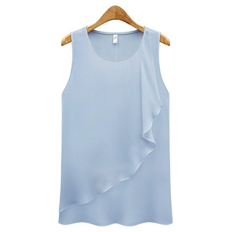 Camisa feminina 2021 verão novo temperamento solto em torno do pescoço chiffon camisa flounded sem mangas fundo coreano vestidos hjy1000