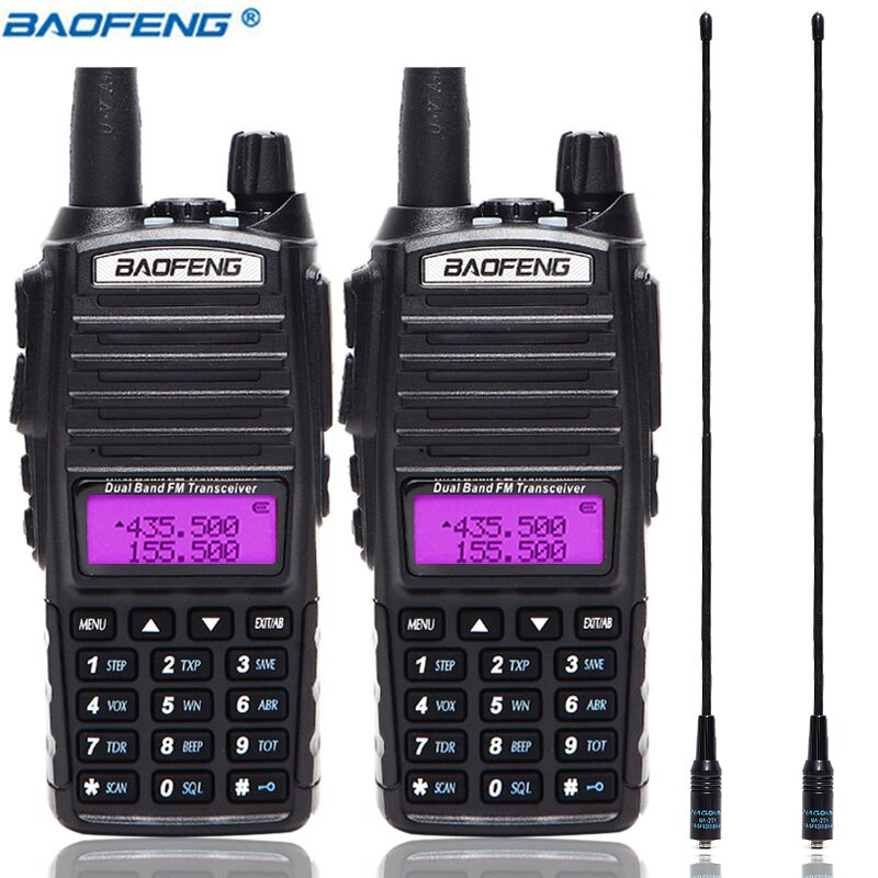 2 pçs/set UV-82 UV82 Portátil Walkie Talkie Dual Band BaoFeng PTT 2 UV 82 Two way Ham CB Rádio Transceptor + 2PCS NA-771 Antena