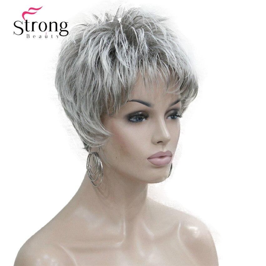 Strong beauty-perruque complète synthétique grise argent   Perruque courte superposée Shag Classic, casquette complète