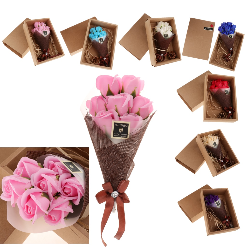 Jabón Rosa flor eterna, 7 Ramos, caja de regalo, flor Artificial