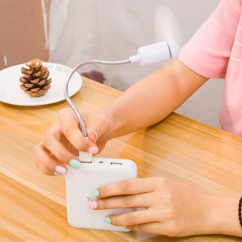 Mini ventilador USB, ventilador de refrigeración para escritorio, Enfriador de plástico, aparatos de aire acondicionado fáciles de llevar para ordenador y banco de energía