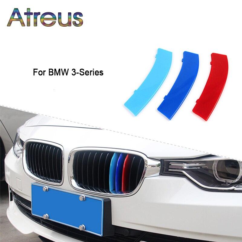 Atreus 3 шт., 3D Передняя решетка автомобиля, отделка, спортивные полоски, покрытие, наклейки для BMW E46 E90 F30 F34 E92 E93, 3 серии, GT M, аксессуары для питания