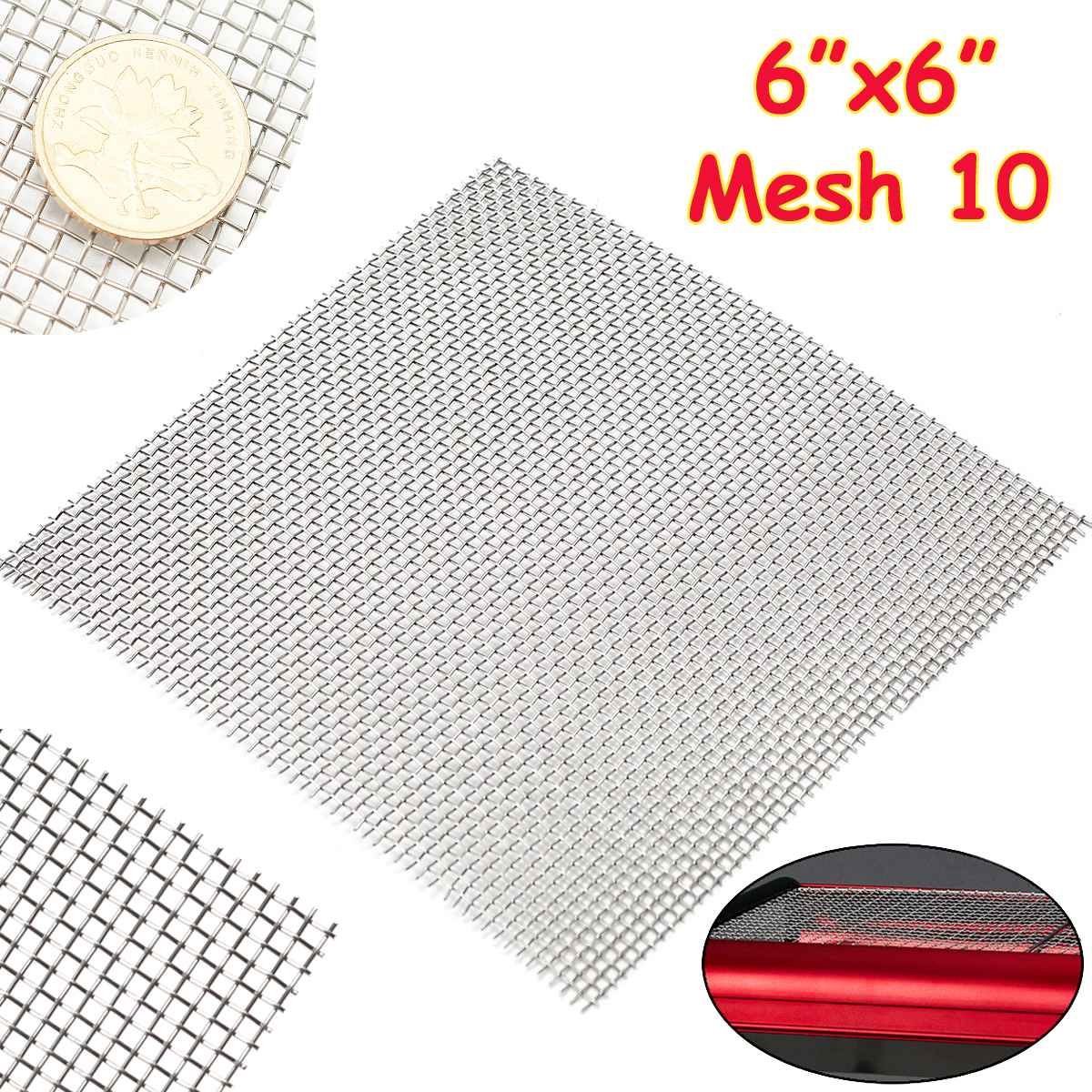 1PC 15x15cm 10 Mesh Woven Wire Cloth Screen Filtration 304 Stainless Steel with High Temperature Res