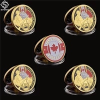 5pcs wwii france normandy juno beach the 3rd canadian infantry division soldier gold challenge metal coin collection