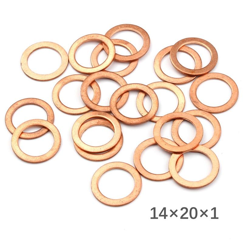 20 unids/pack 14x20x1mm sólido arandela de cobre junta anular plana de sumidero macho sello de aceite accesorios arandelas de fijación accesorios de Hardware