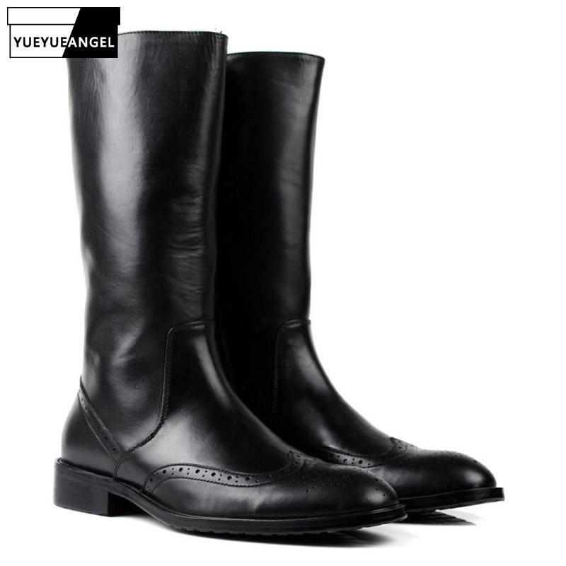 أحذية شتوية إيطالية للرجال مناسبة لركوب الدراجات النارية, أحذية عسكرية جلدية فاخرة للرجال بطول الركبة ذي طراز عسكري