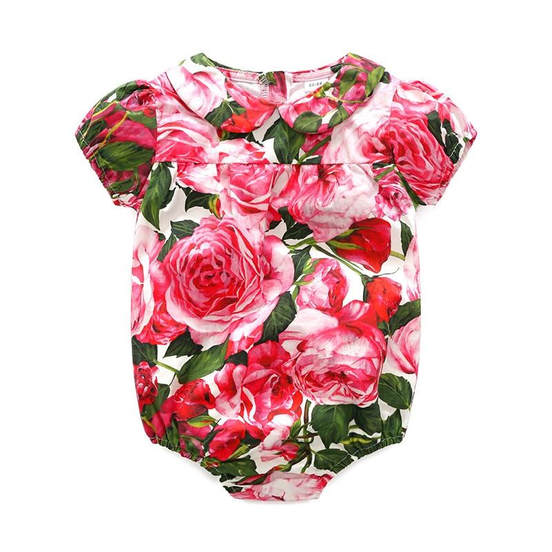 2019 verano Floral rosa para niña bebé Romper fiesta Flor de boutique ropa impresa para niñas Bohemian Romper ropa
