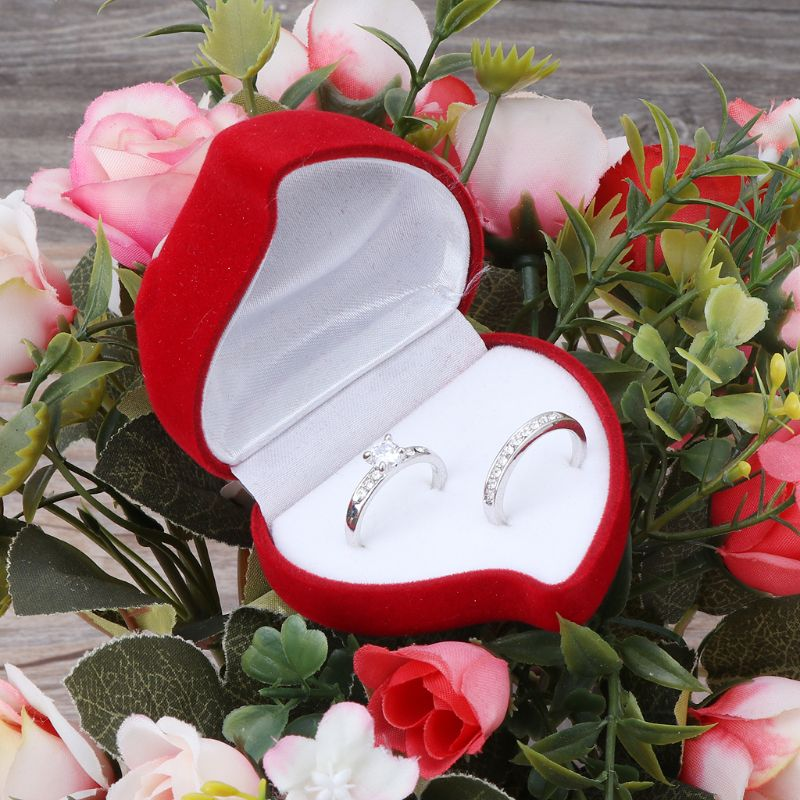 Double Wedding Rings Box Velvet Heart Shape Red Rose Flower Box Jewelry Display