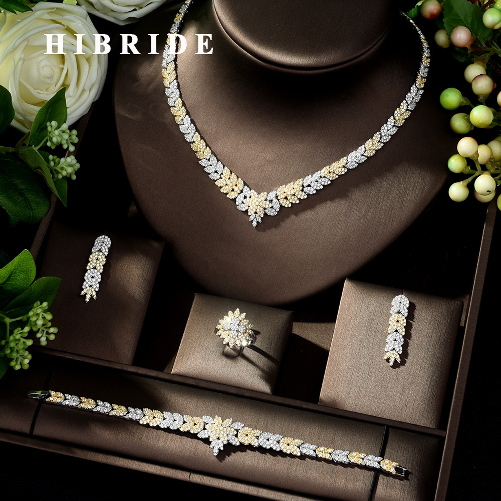 HIBRIDE New Arrival AAA Cubic Zircon Necklace Earrings Jewelry Set Two-color Bride Wedding Jewelry Dress Accessories N-206