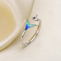 mermaid pearl ring settings fashion pearl ring accessories ring findings diy blue beautiful tail rings accessory
