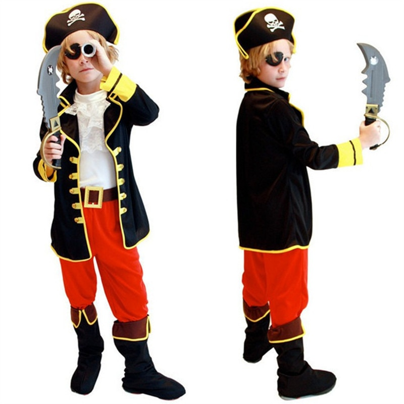 Kids Boys Pirate Costume Cosplay Set For Children Birthday School Carnival Party Fancy Dress