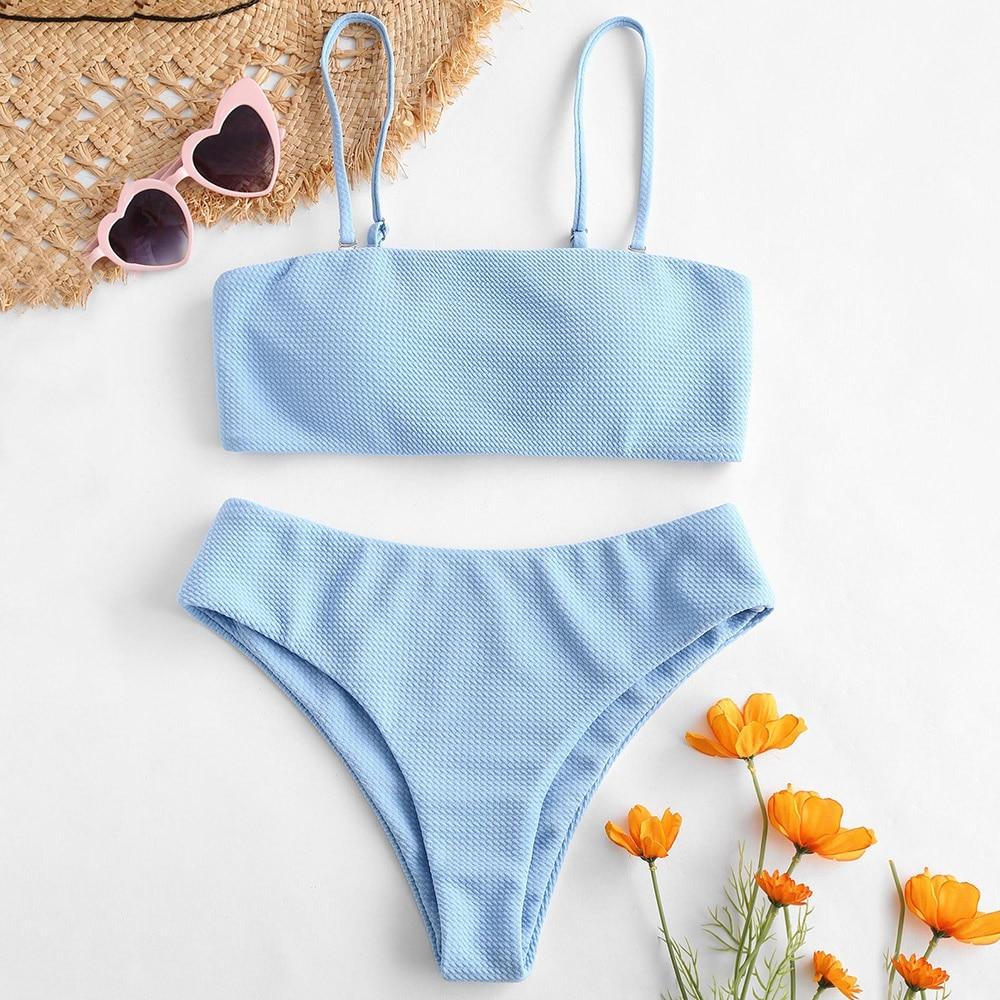 Women Textured Bandeau Bikini Set Spaghetti Straps Wire Free Padded Female Bathing Suit Swimwear Women Bikinis Mujer Swimsuit
