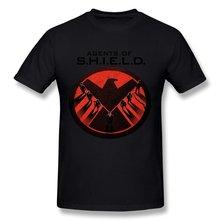 Agentes de S.H.I.E.L.D de hombres de siguiente estilo Camiseta negra con Logo de escudo, Camiseta con cuello redondo de moda, camiseta informal con estampado de alta calidad