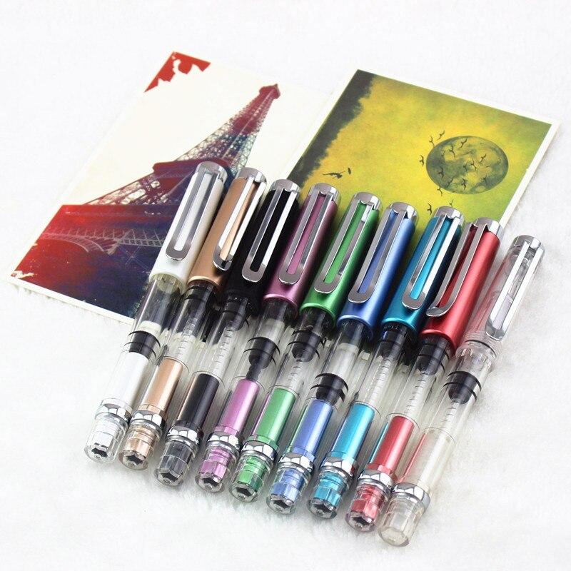 luxury school Office Fountain Pen Gifts Writing Transparent Piston Fountain Pen Demonstrator Fountain Pen