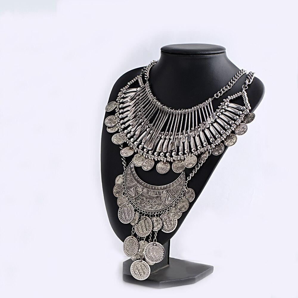 BohemianStatement collares Vintage Collier Femme gargantilla Collar Multi capa Collar para mujeres estilo gitano moneda Etiqueta de alta calidad