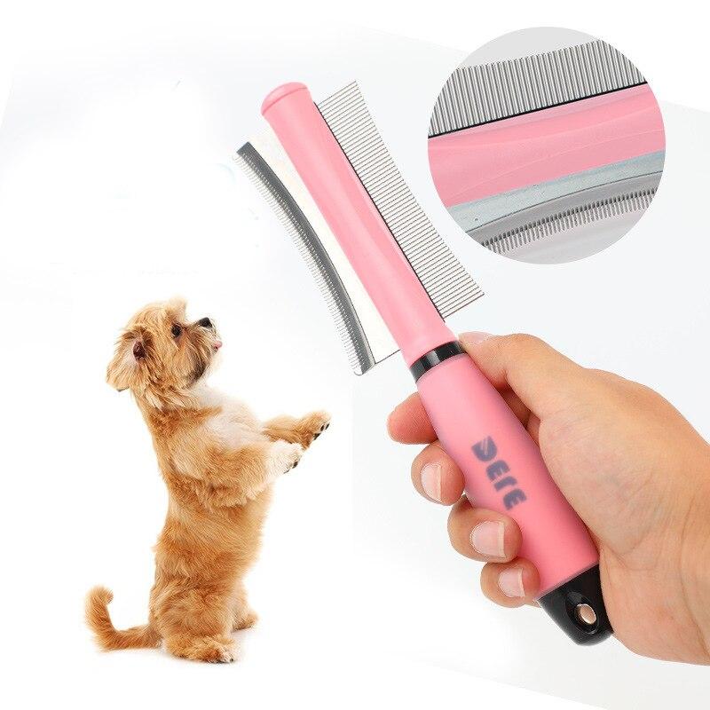 Agujas de Pet de lado cepillo de aseo peine recortado con perros de doble fila peine herramienta Mango para quitar el pelo suelto suministros para mascotas