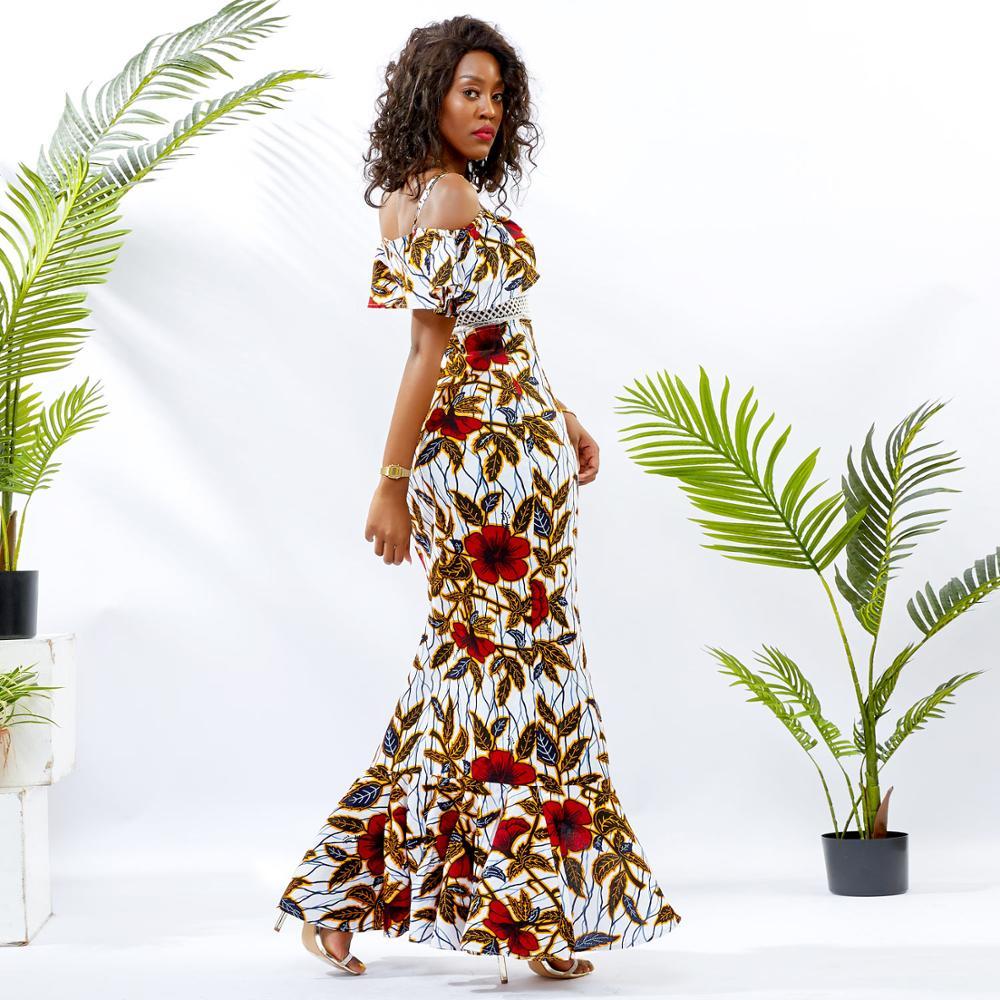 Shenbolen African dresses for women maxi dresses fashion  women party dress cotton material wax print traditional clothing
